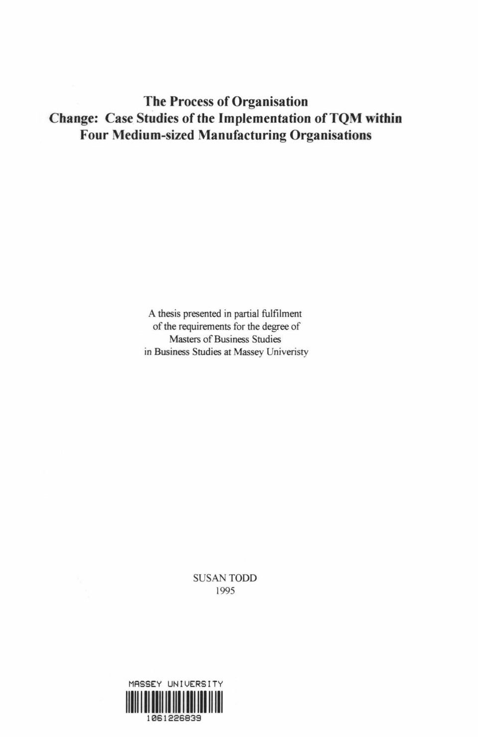 A thesis presented in partial fulfilment of the requirements for the degree of Masters