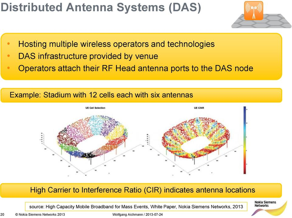 cells each with six antennas High Carrier to Interference Ratio (CIR) indicates antenna locations source: