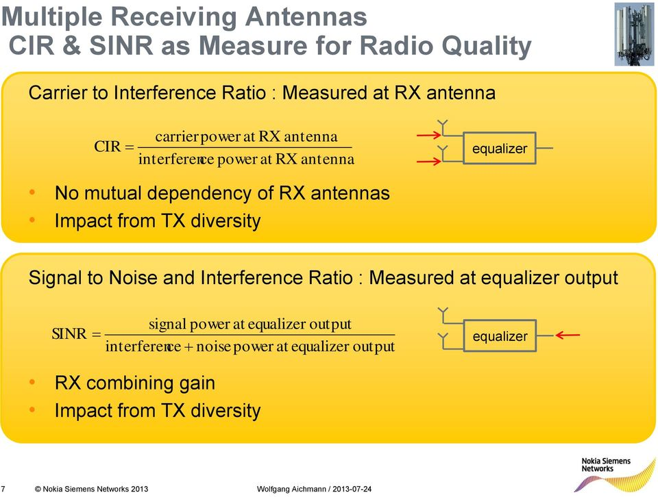 TX diversity Signal to Noise and Interference Ratio : Measured at equalizer output SINR signal power at equalizer output