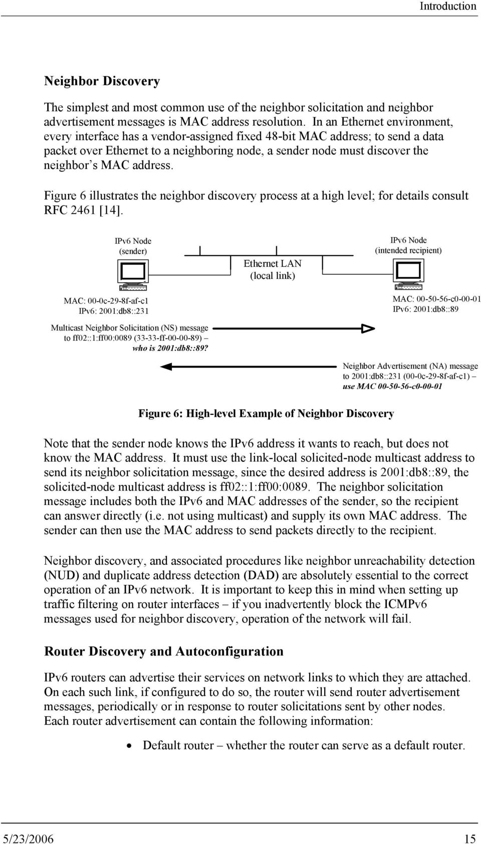 discovery process at a high level; for details consult RFC 2461 [14] IPv6 Node (sender) MAC: 00-0c-29-8f-af-c1 IPv6: 2001:db8::231 Multicast Neighbor Solicitation (NS) message to ff02::1:ff00:0089