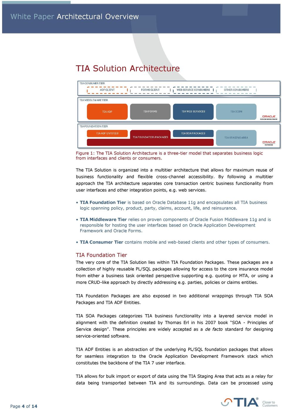 By following a multitier approach the TIA architecture separates core transaction centric business functionality from user interfaces and other integration points, e.g. web services.