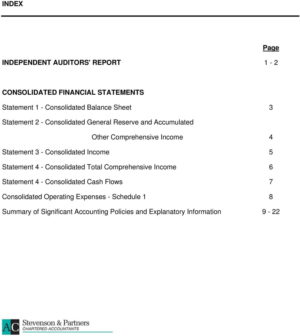 Consolidated Income 5 Statement 4 - Consolidated Total Comprehensive Income 6 Statement 4 - Consolidated Cash Flows