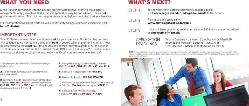 IMPORTANT NOTES The NC State course number is written in red for your reference; North Carolina community college course numbers are written in bold.