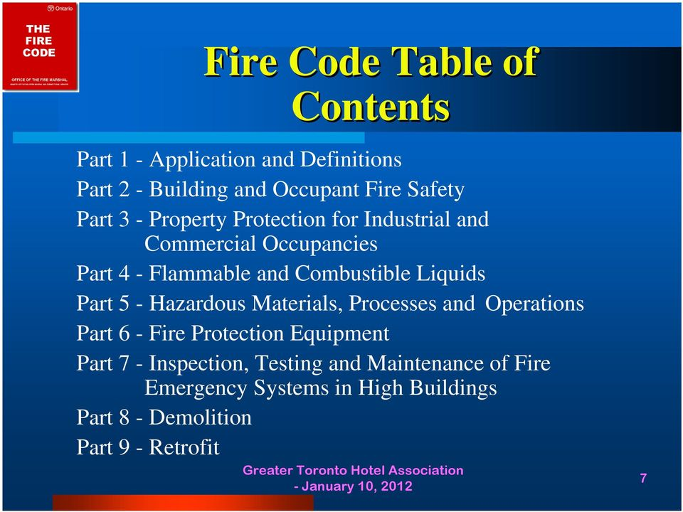 Liquids Part 5 - Hazardous Materials, Processes and Operations Part 6 - Fire Protection Equipment Part 7 -