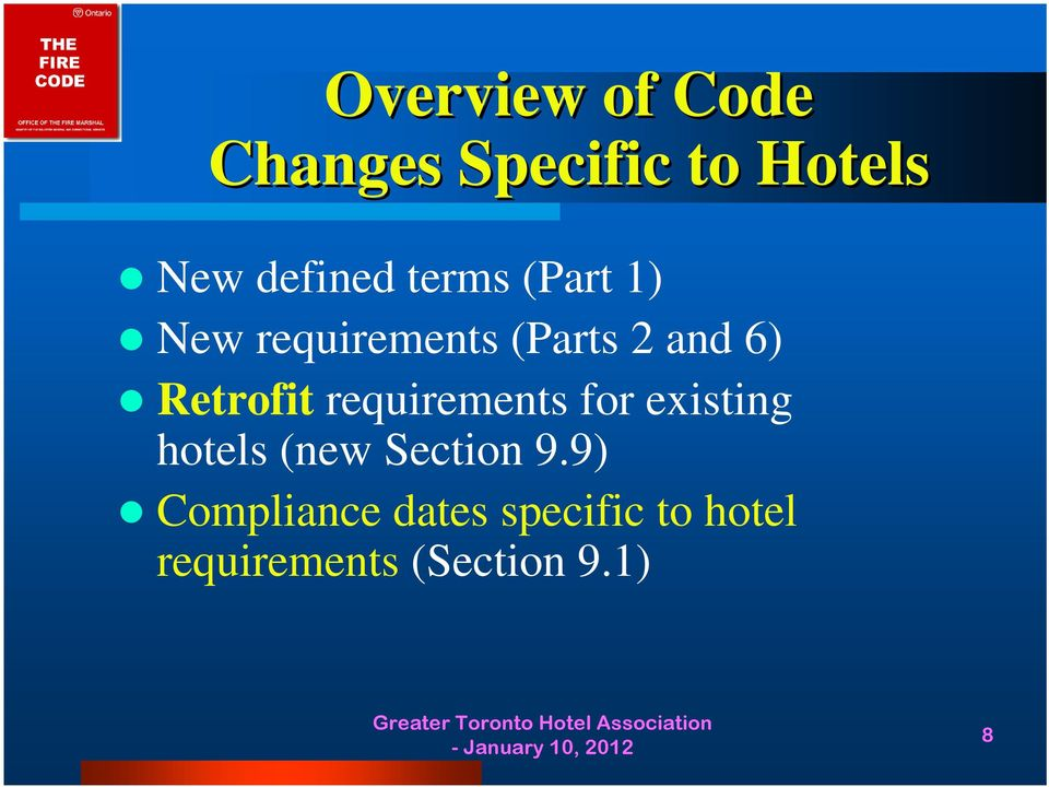 requirements for existing hotels (new Section 9.