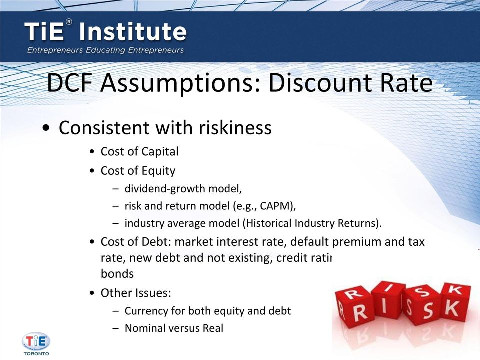 Cost of Debt: market interest rate, default premium and tax rate, new debt and not existing, credit