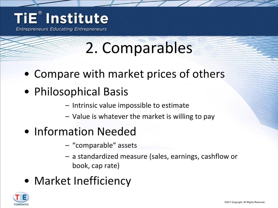 market is willing to pay Information Needed comparable assets a