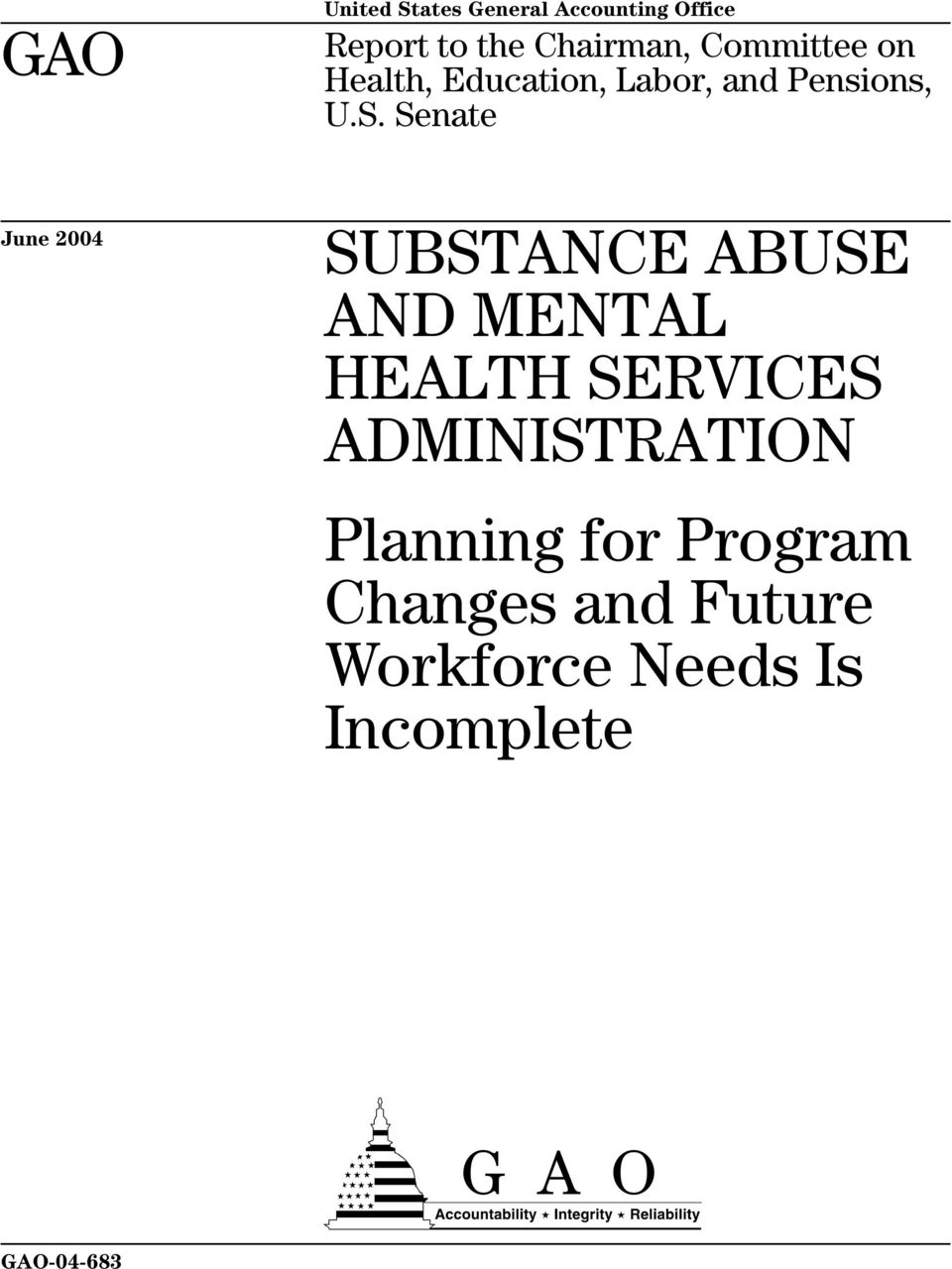 Senate June 2004 SUBSTANCE ABUSE AND MENTAL HEALTH SERVICES