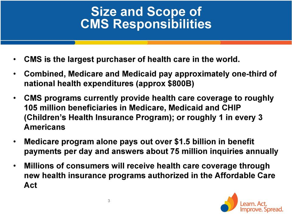 roughly 105 million beneficiaries in Medicare, Medicaid and CHIP (Children s Health Insurance Program); or roughly 1 in every 3 Americans Medicare program alone