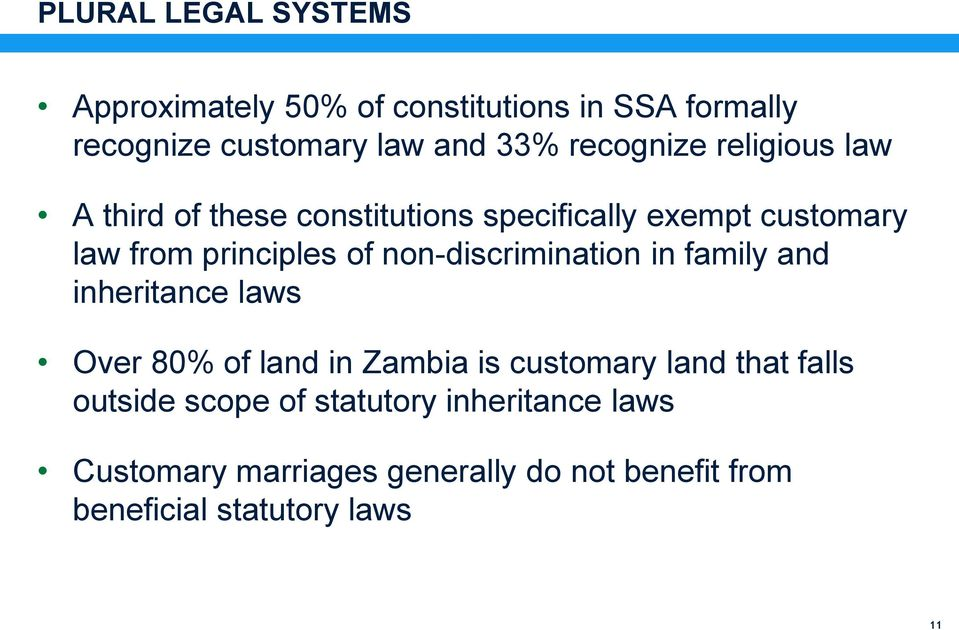 non-discrimination in family and inheritance laws Over 80% of land in Zambia is customary land that falls
