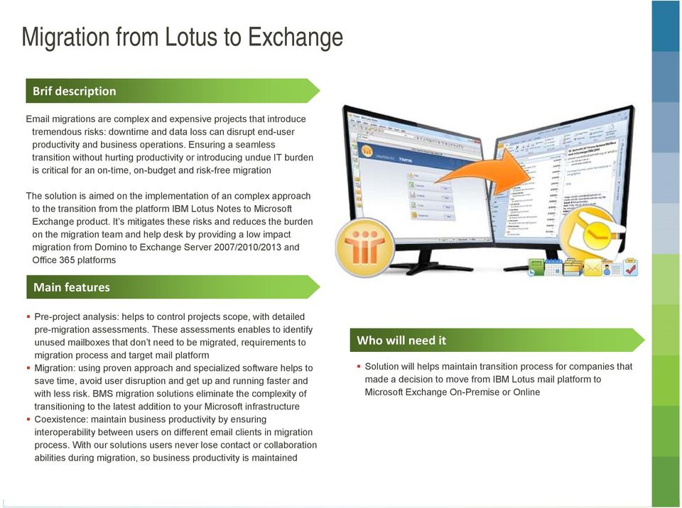 Migration from Lotus to Exchange Complex solution for