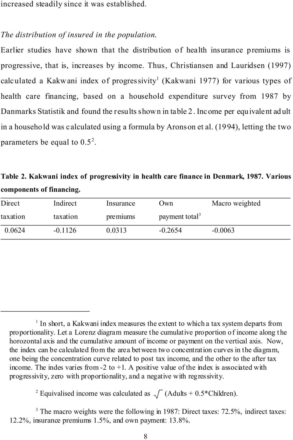 Thus, Christiansen and Lauridsen (1997) calculated a Kakwani index of progressivity 1 (Kakwani 1977) for various types of health care financing, based on a household expenditure survey from 1987 by