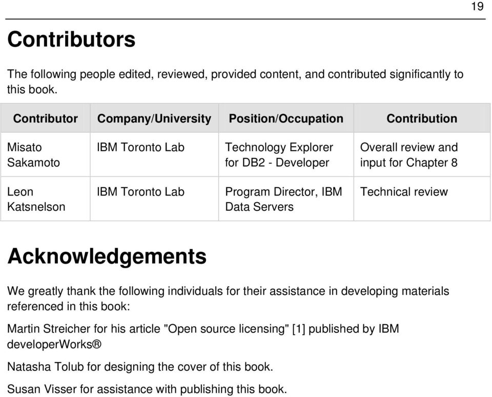 Leon Katsnelson IBM Toronto Lab Program Director, IBM Data Servers Technical review Acknowledgements We greatly thank the following individuals for their assistance in