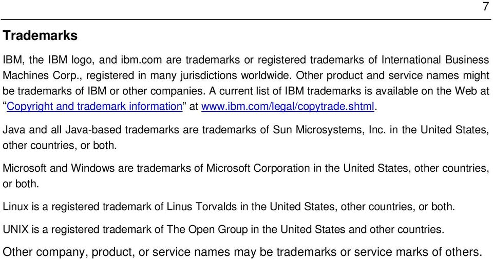 com/legal/copytrade.shtml. Java and all Java-based trademarks are trademarks of Sun Microsystems, Inc. in the United States, other countries, or both.