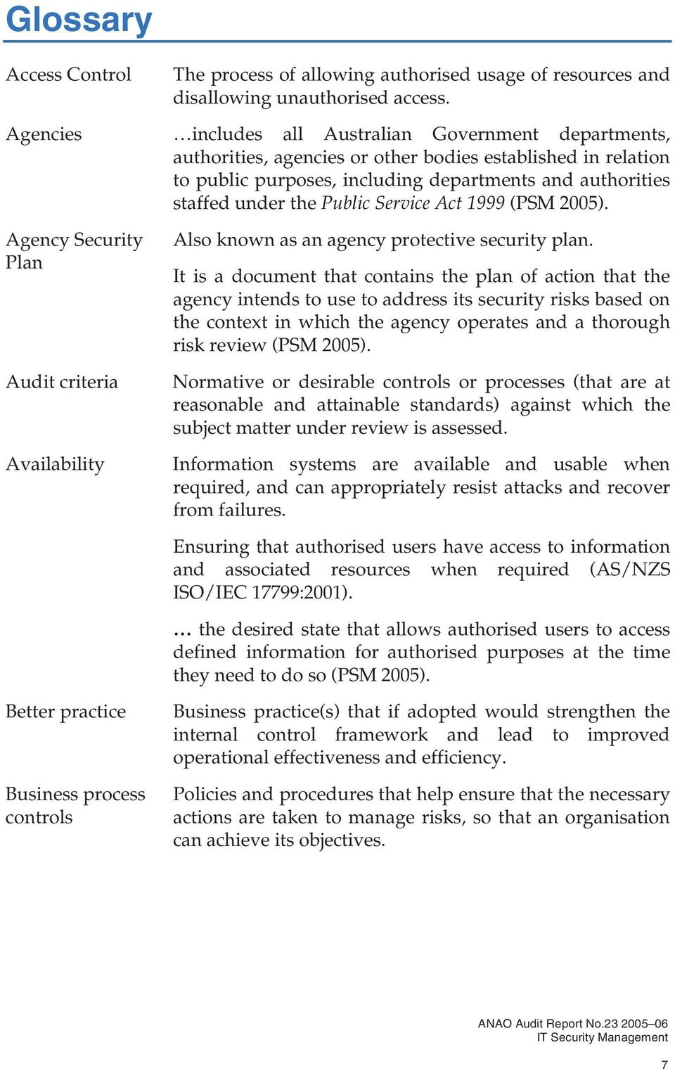 Public Service Act 1999 (PSM 2005). Agency Security Plan Audit criteria Availability Also known as an agency protective security plan.