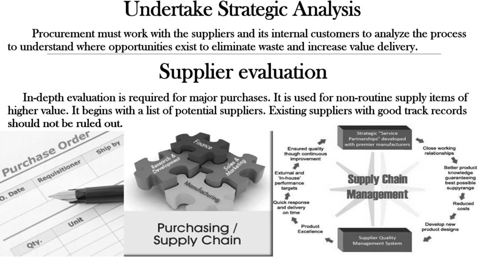 Supplier evaluation In-depth evaluation is required for major purchases.