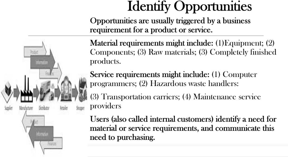 Service requirements might include: (1) Computer programmers; (2) Hazardous waste handlers: (3) Transportation carriers; (4)