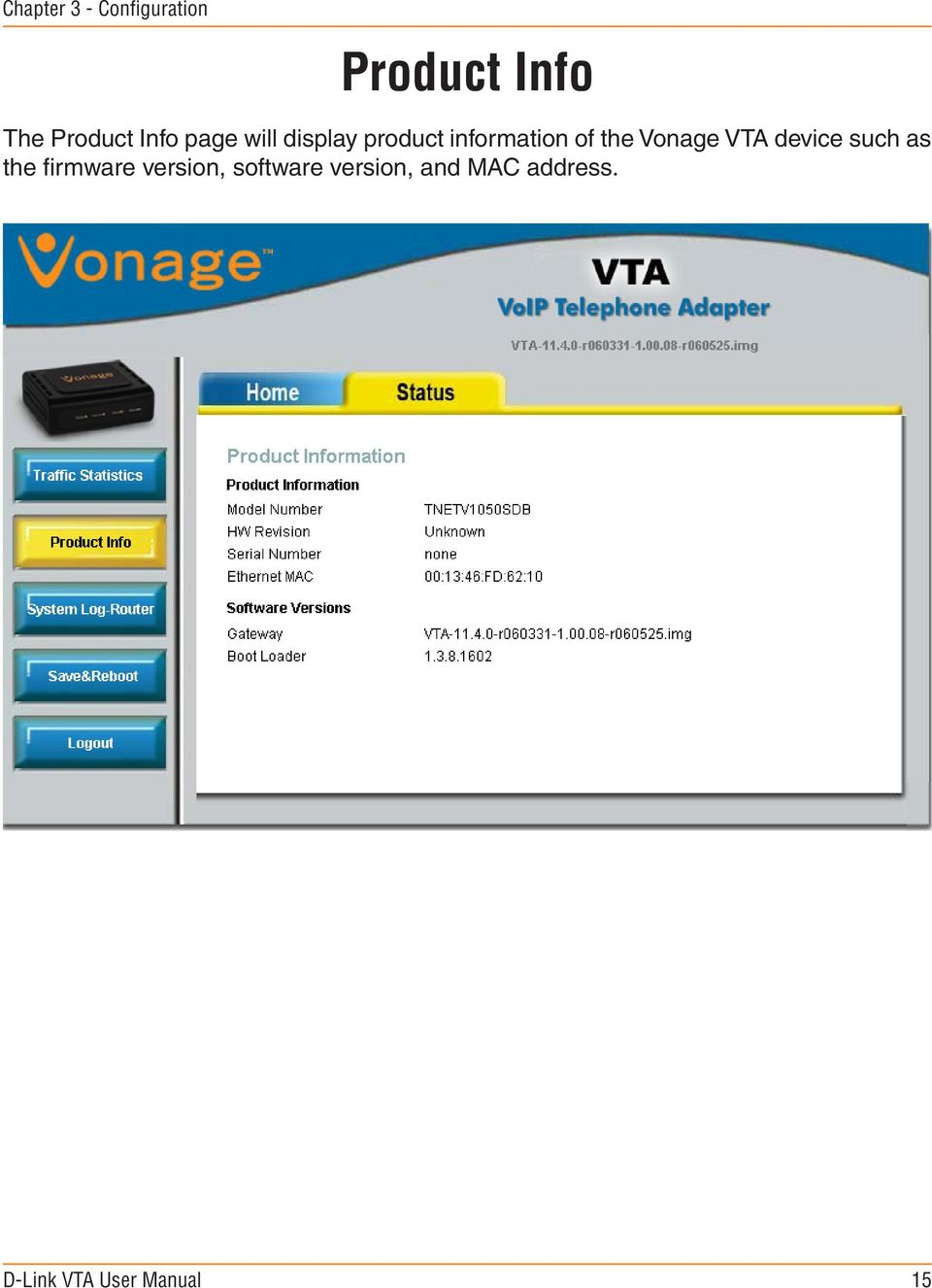 information of the Vonage VTA device such as