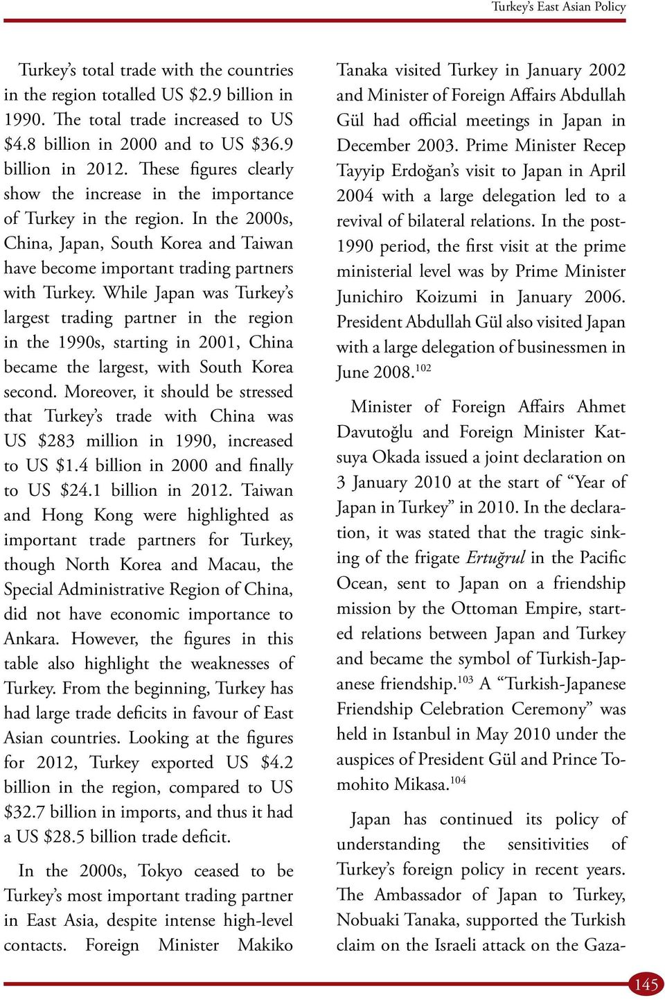 While Japan was Turkey s largest trading partner in the region in the 1990s, starting in 2001, China became the largest, with South Korea second.