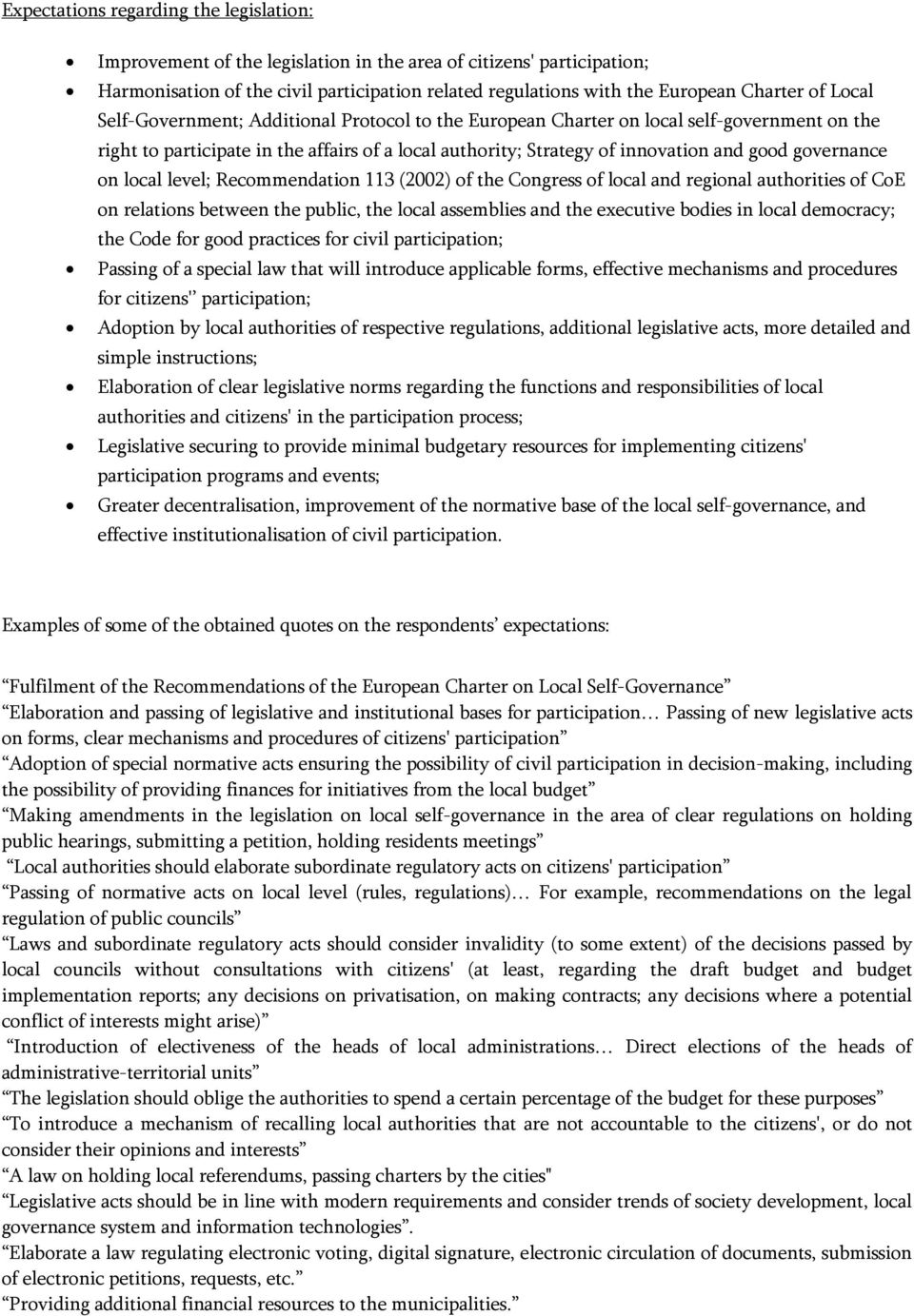 governance on local level; Recommendation 113 (2002) of the Congress of local and regional authorities of CoE on relations between the public, the local assemblies and the executive bodies in local