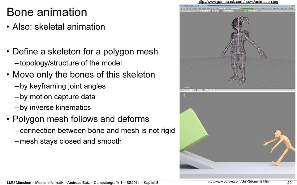 skeleton by keyframing joint angles by motion capture data by inverse kinematics Polygon mesh follows