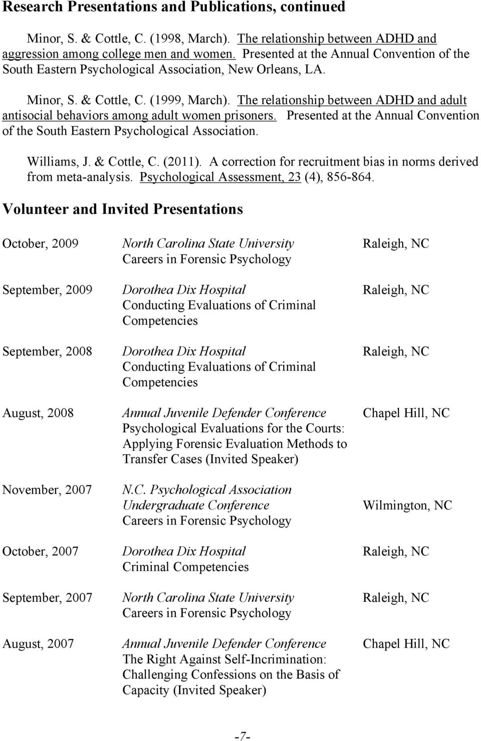 The relationship between ADHD and adult antisocial behaviors among adult women prisoners. Presented at the Annual Convention of the South Eastern Psychological Association. Williams, J. & Cottle, C.