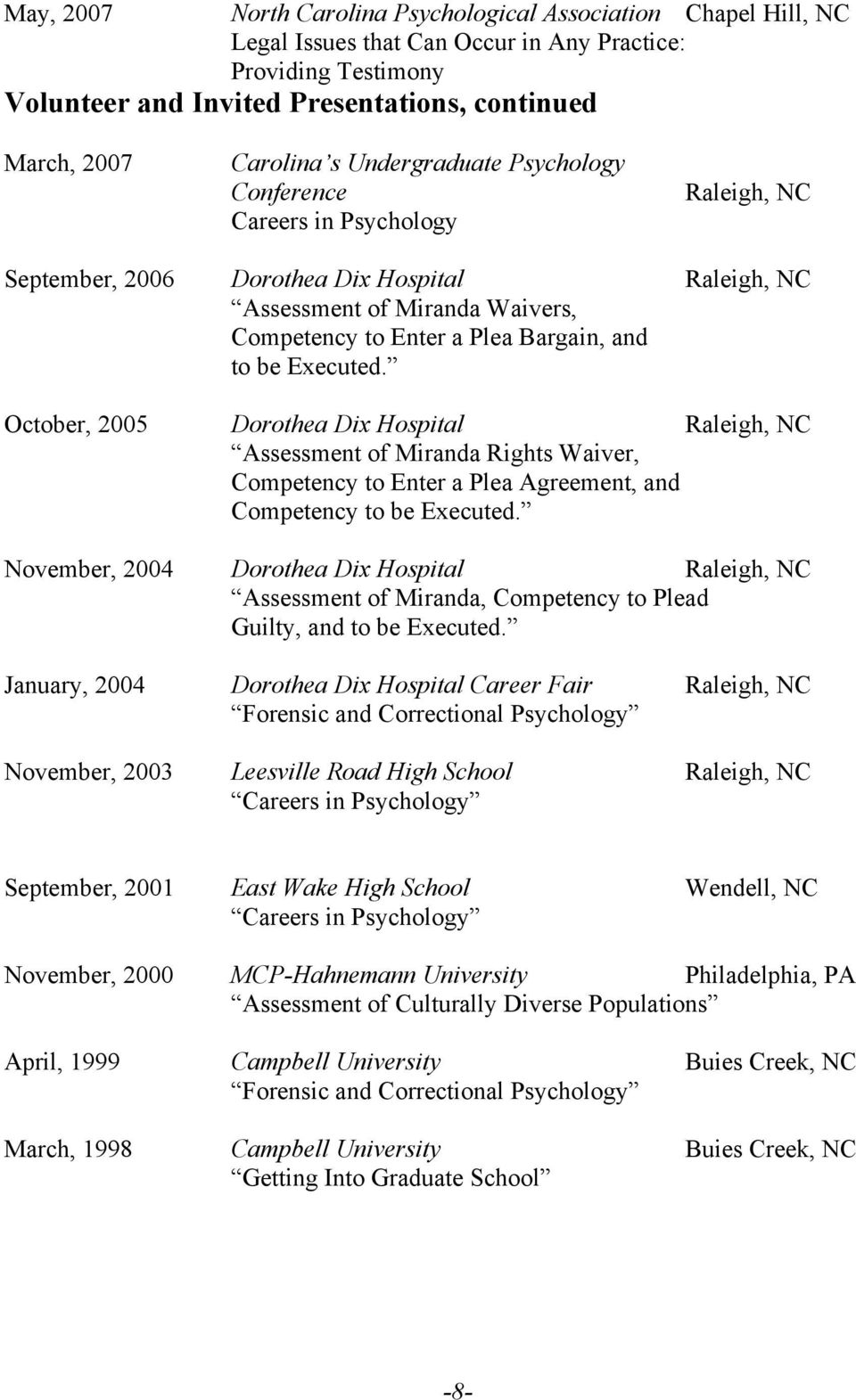 Executed. October, 2005 Dorothea Dix Hospital Raleigh, NC Assessment of Miranda Rights Waiver, Competency to Enter a Plea Agreement, and Competency to be Executed.