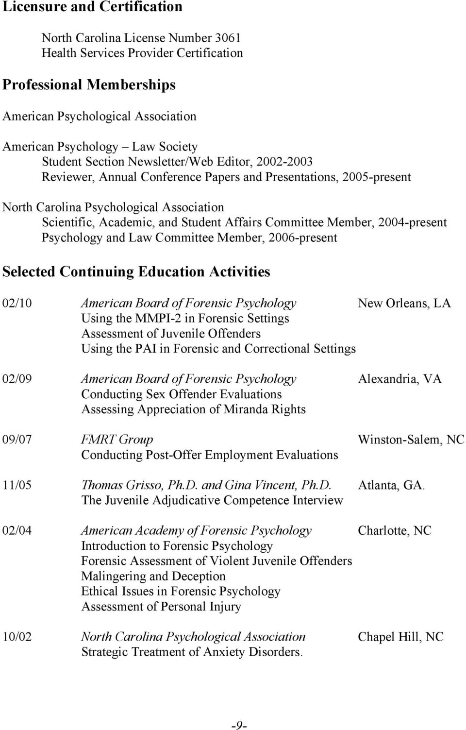 Committee Member, 2004-present Psychology and Law Committee Member, 2006-present Selected Continuing Education Activities 02/10 American Board of Forensic Psychology New Orleans, LA Using the MMPI-2
