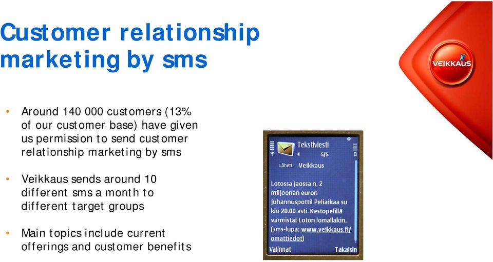 marketing by sms Veikkaus sends around 10 different sms a month to