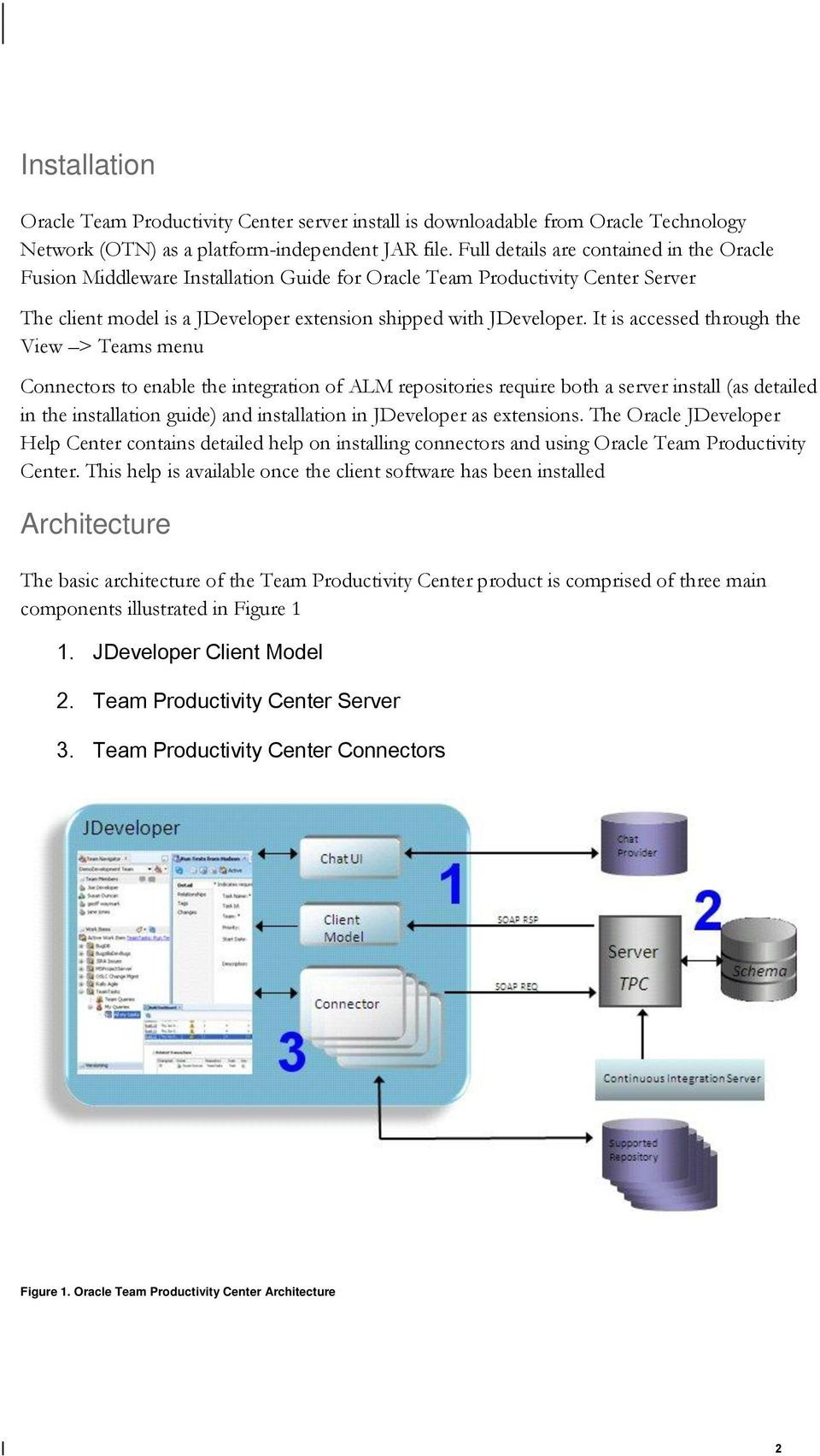 It is accessed through the View > Teams menu Connectors to enable the integration of ALM repositories require both a server install (as detailed in the installation guide) and installation in
