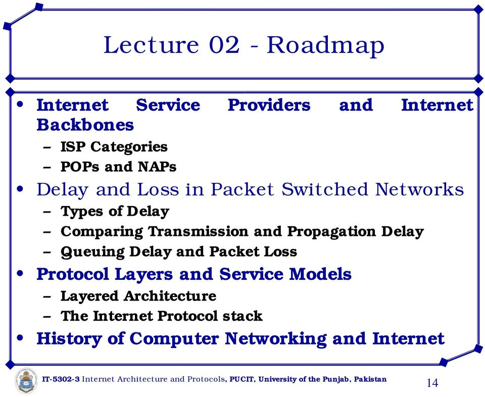 and Propagation Delay Queuing Delay and Packet Loss Protocol Layers and Service Models