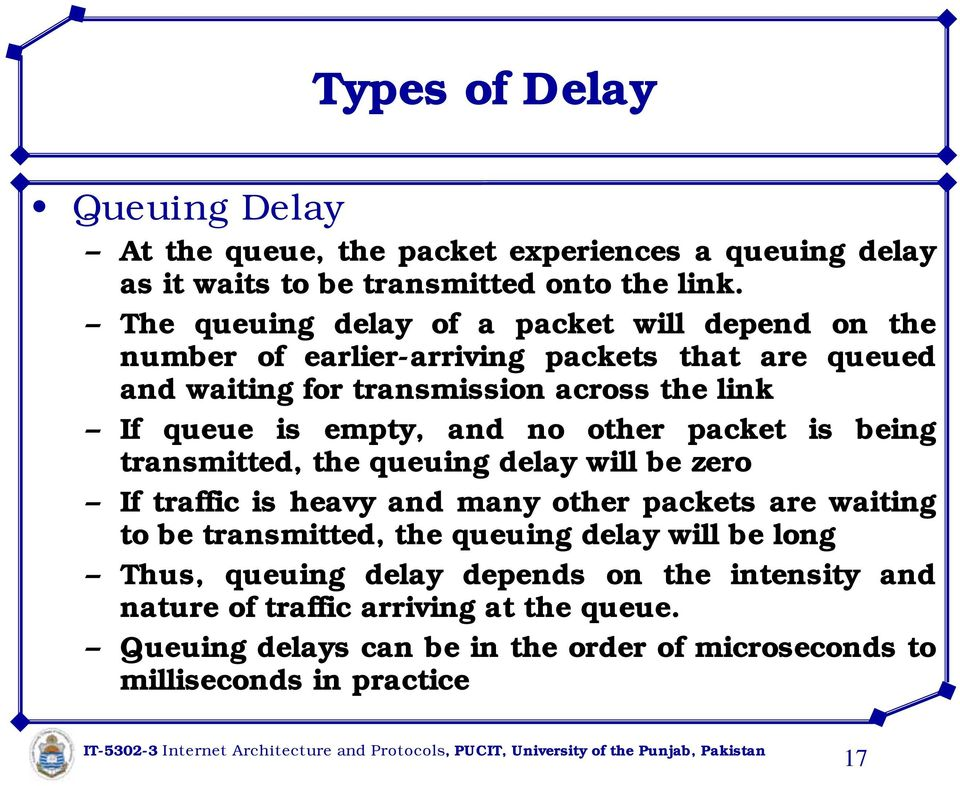 empty, and no other packet is being transmitted, the queuing delay will be zero If traffic is heavy and many other packets are waiting to be transmitted, the