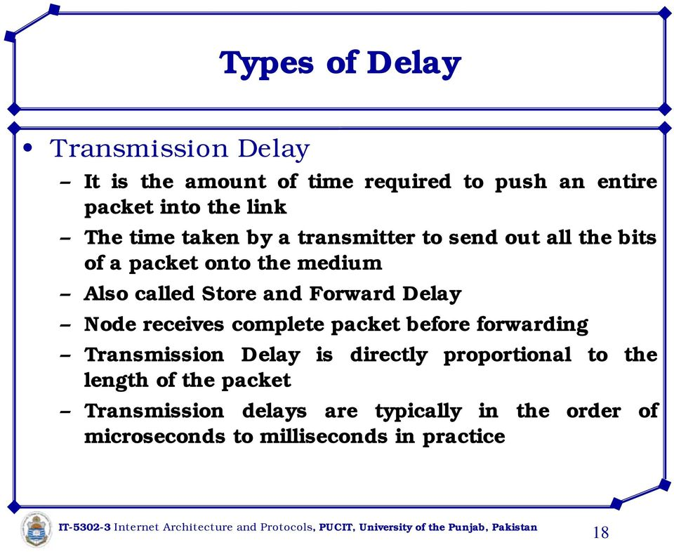 Delay Node receives complete packet before forwarding Transmission Delay is directly proportional to the