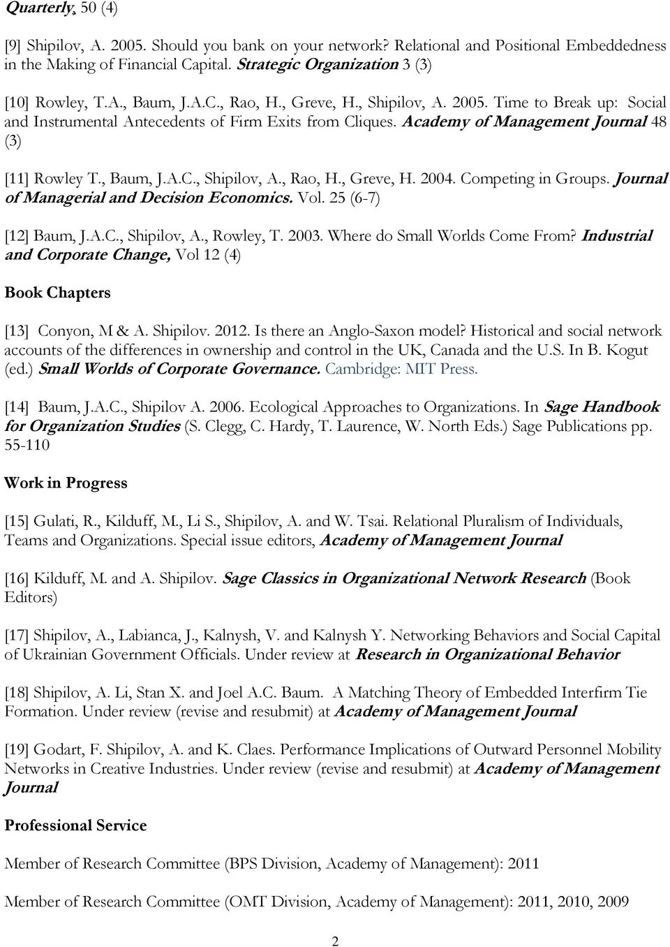 Competing in Groups. Journal of Managerial and Decision Economics. Vol. 25 (6-7) [12] Baum, J.A.C., Shipilov, A., Rowley, T. 2003. Where do Small Worlds Come From?