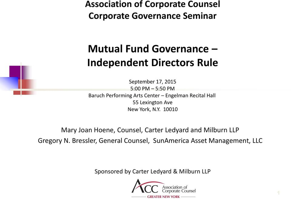 Ave New York, N.Y. 10010 Mary Joan Hoene, Counsel, Carter Ledyard and Milburn LLP Gregory N.