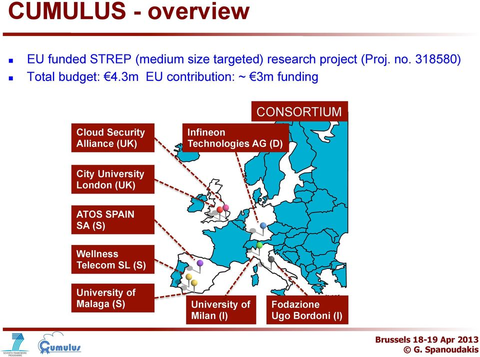 3m EU cntributin: ~ 3m funding CONSORTIUM Clud Security Alliance (UK) Infinen