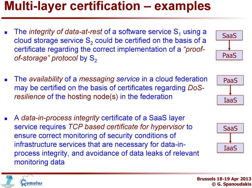 DSresilience f the hsting nde(s) in the federatin PaaS IaaS A data-in-prcess integrity certificate f a SaaS layer service requires TCP based certificate fr hypervisr t ensure
