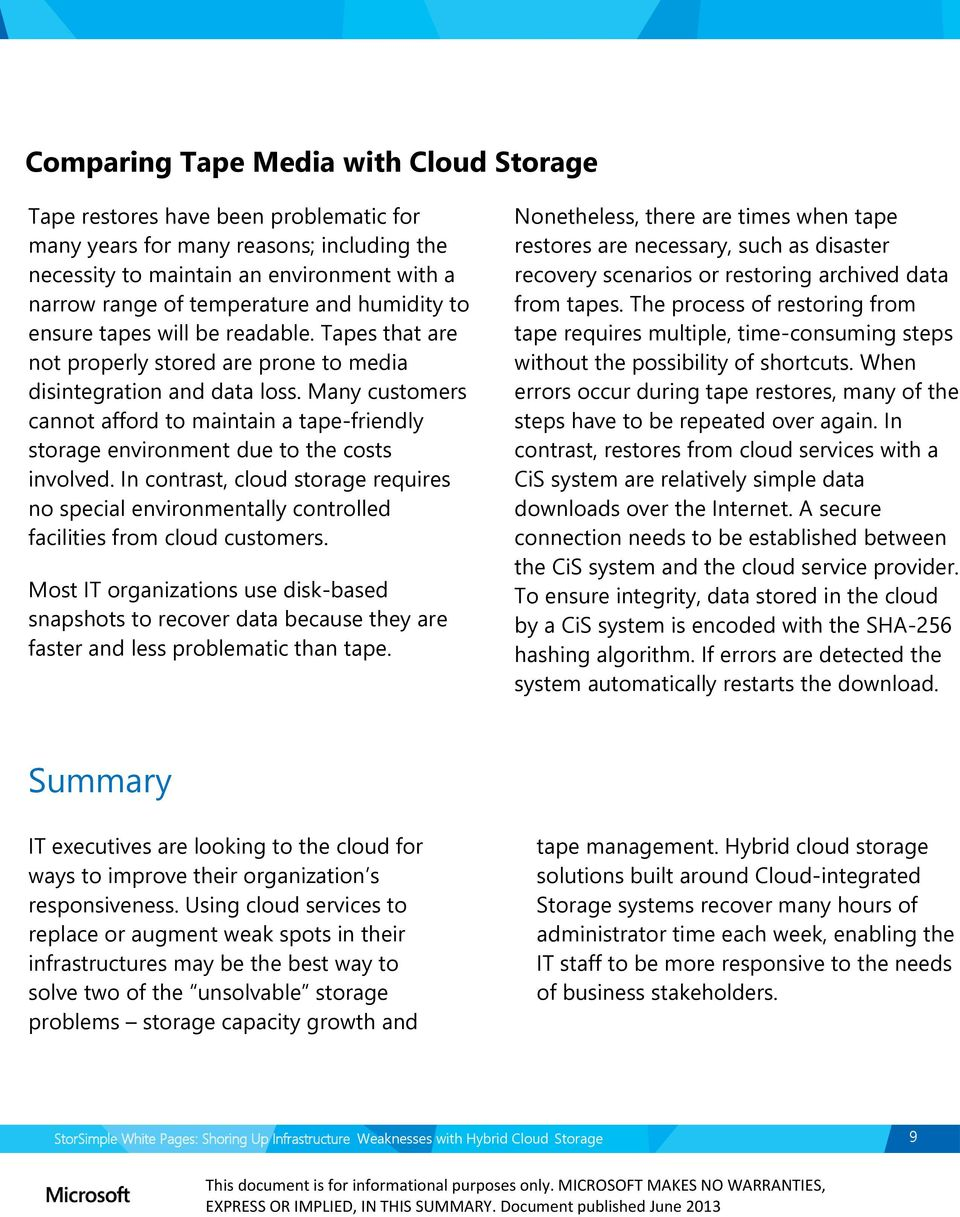 Many customers cannot afford to maintain a tape-friendly storage environment due to the costs involved.