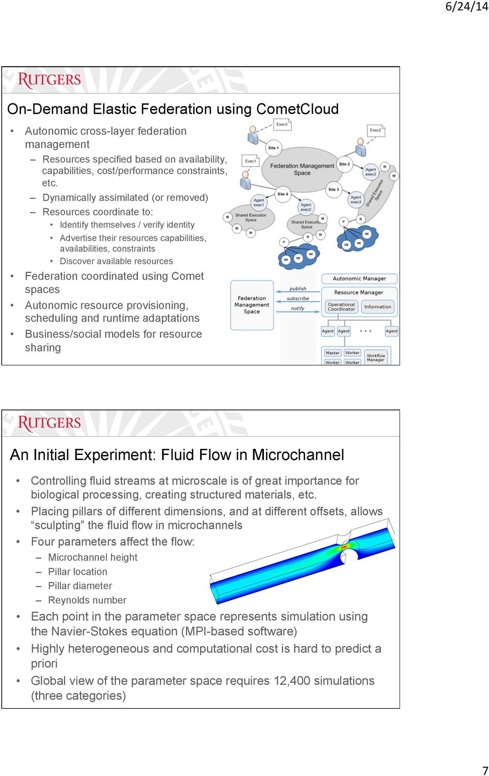 Federation coordinated using Comet spaces Autonomic resource provisioning, scheduling and runtime adaptations Business/social models for resource sharing An Initial Experiment: Fluid Flow in