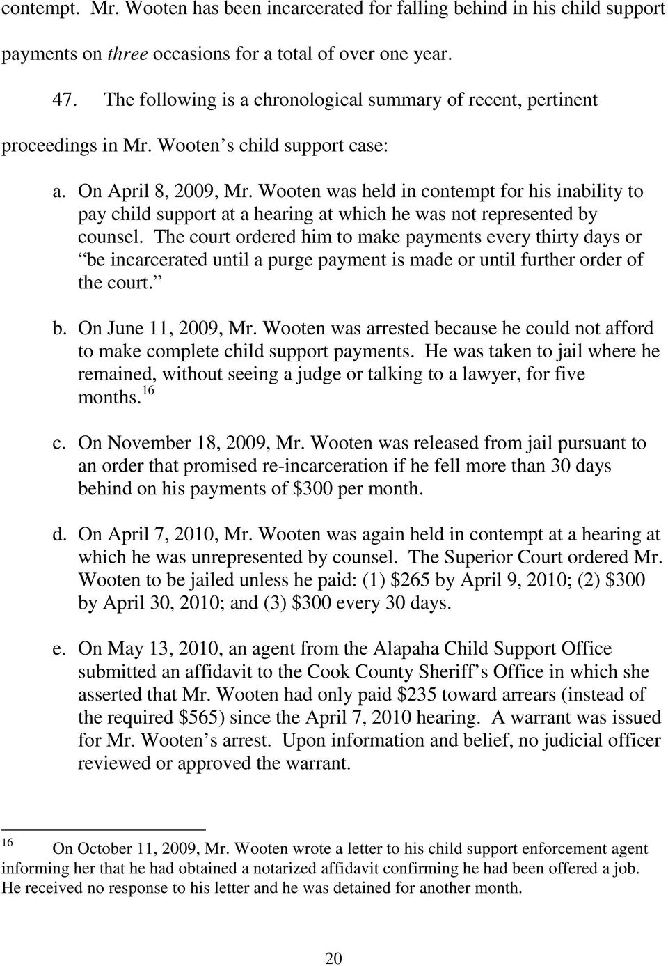 Wooten was held in contempt for his inability to pay child support at a hearing at which he was not represented by counsel.