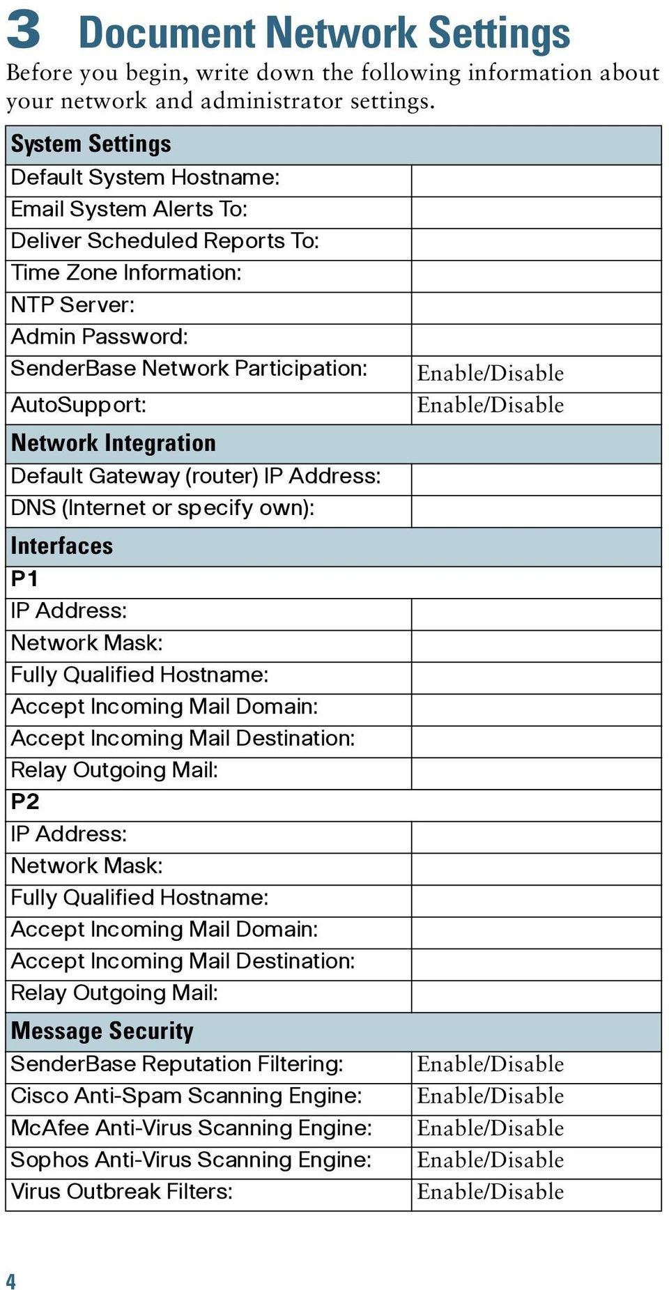 Network Integration Default Gateway (router) IP Address: DNS (Internet or specify own): Interfaces P1 IP Address: Network Mask: Fully Qualified Hostname: Accept Incoming Mail Domain: Accept Incoming