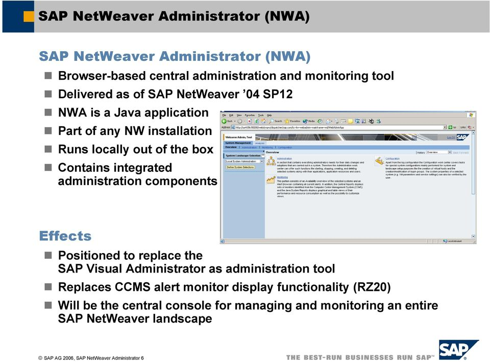 components Effects Positioned to replace the SAP Visual Administrator as administration tool Replaces CCMS alert monitor display