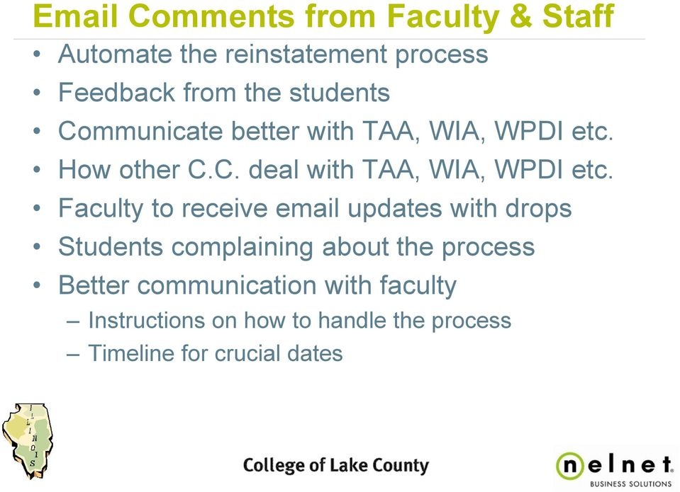 Faculty to receive email updates with drops Students complaining about the process Better