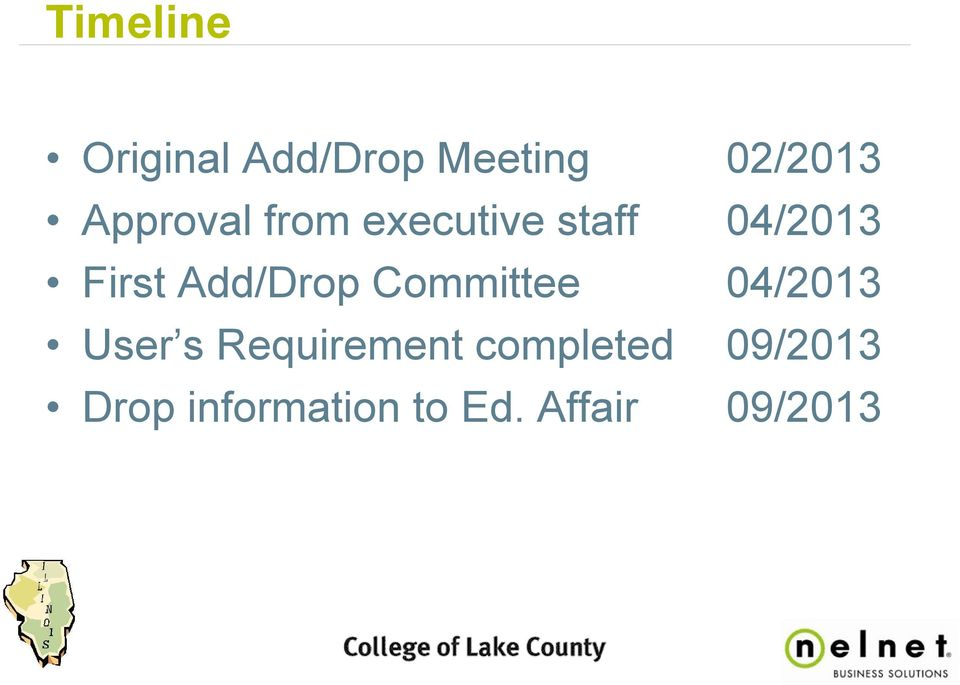 Add/Drop Committee 04/2013 User s Requirement