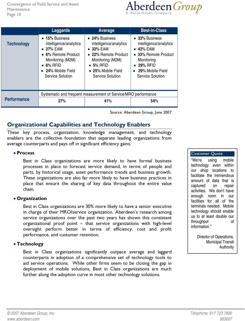 Mobile Field Service Solution Systematic and frequent measurement of Service/MRO performance Performance 27% 41% 54% Organizational Capabilities and Technology Enablers These key process,