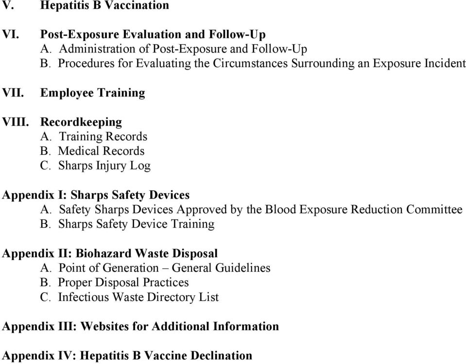 Sharps Injury Log Appendix I: Sharps Safety Devices A. Safety Sharps Devices Approved by the Blood Exposure Reduction Committee B.
