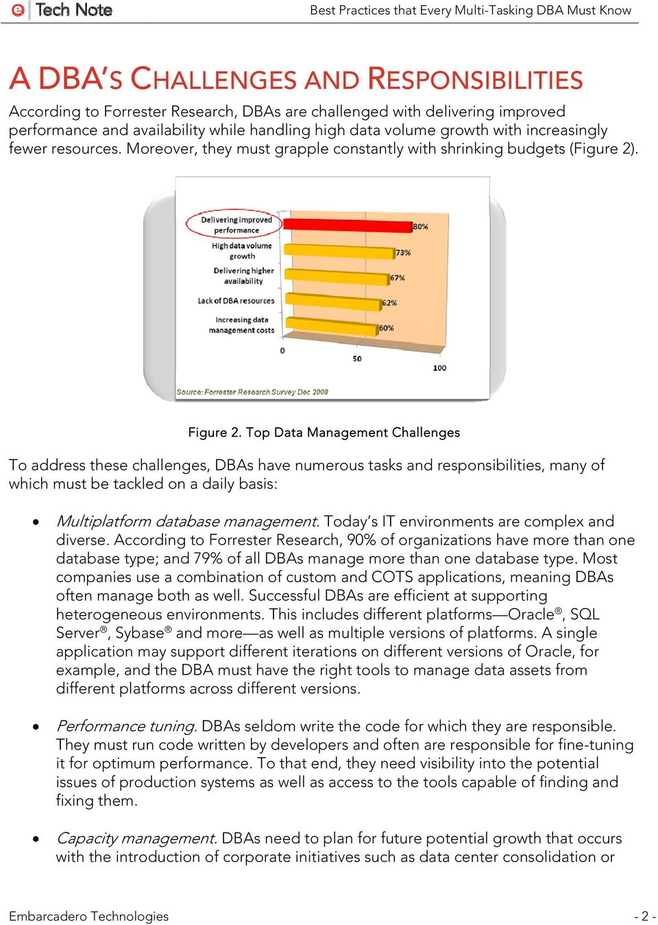 Top Data Management Challenges To address these challenges, DBAs have numerous tasks and responsibilities, many of which must be tackled on a daily basis: Multiplatform database management.