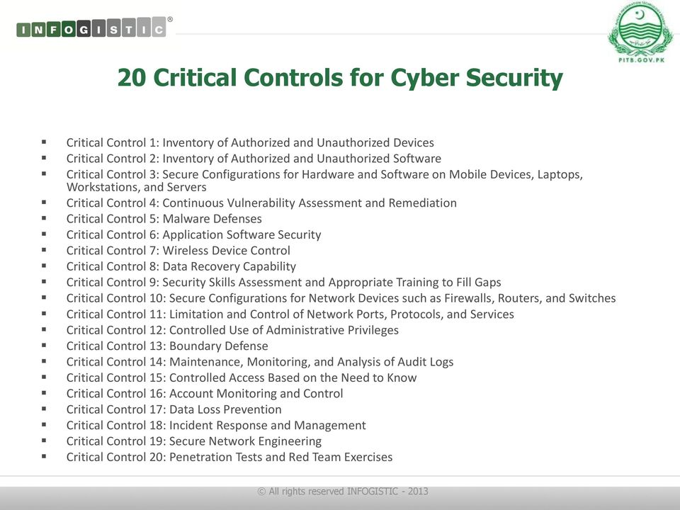 Malware Defenses Critical Control 6: Application Software Security Critical Control 7: Wireless Device Control Critical Control 8: Data Recovery Capability Critical Control 9: Security Skills
