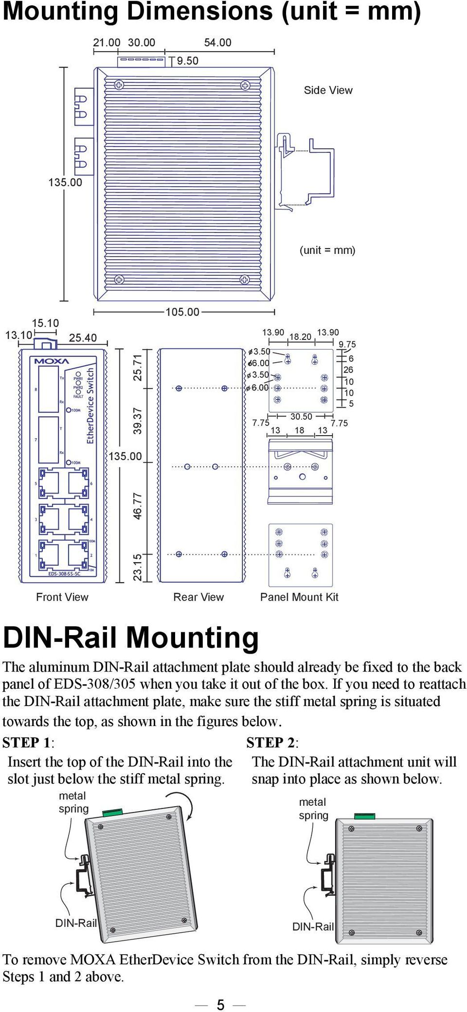 77 + + + + + + + + + + Front View Rear View Panel Mount Kit DIN-Rail Mounting The aluminum DIN-Rail attachment plate should already be fixed to the back panel of EDS-308/305 when you take it out of