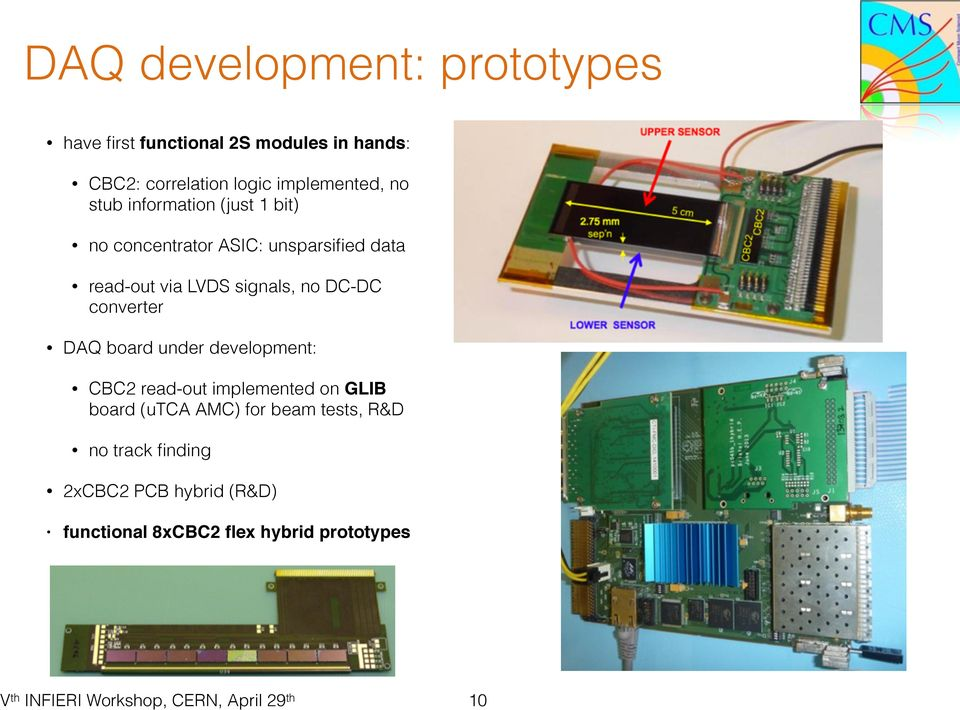 LVDS signals, no DC-DC converter DAQ board under development: CBC2 read-out implemented on GLIB board